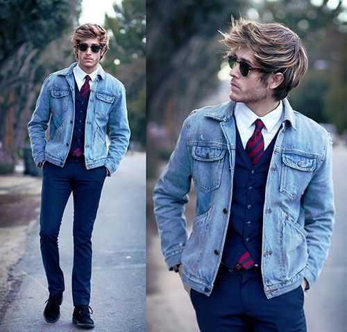 男生牛仔外套搭配_男生牛仔夹克穿搭