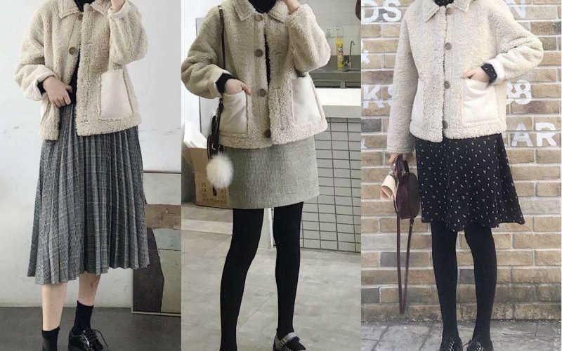 女生冬天裙子穿搭_女生冬季日常穿搭图片