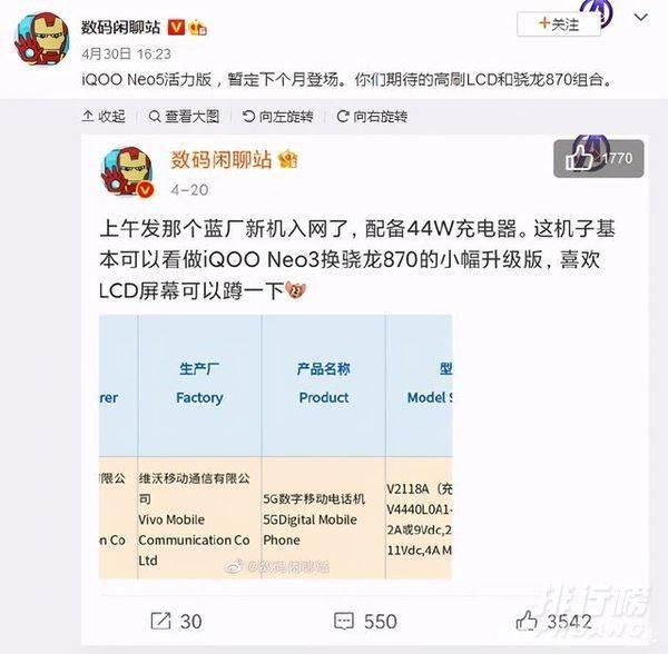 iqooneo5活力版什么时候发布_iqooneo5活力版发布时间